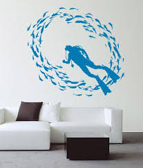 Scuba Diver Fish Deep Sea Diving Wall Decoration Vinyl Art Decal Kids Sticker Scuba Diving Tattoo Scuba Tattoo Diver Art