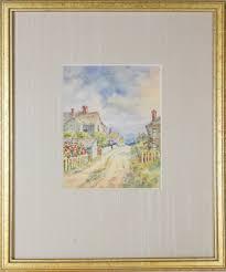 "Lillian Gertrude Smith Watercolor - Lillian Gertrude Smith Nantucket  Watercolor on Paper, ""Village Path to the Sea"" | Rafael Osona Auctions  Nantucket, MA"
