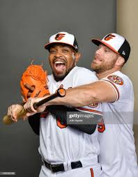 Mychal Givens and Chris Davis of the Baltimore Orioles pose during ...