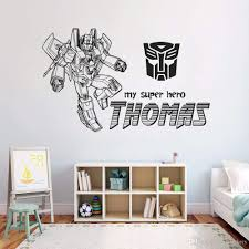 Amazon Com Handmade Decoration Personalized Name Wall Decal Airplane Robot Shield Wall Decal Vinyl Sticker Nursery For Home Bedroom Children Handmade