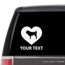 Pug Heart Car Window Decal Vinyl Sticker Custom Gifts Etc