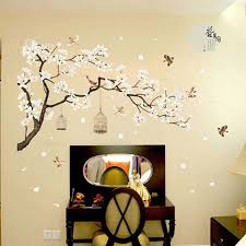 Chinese Style Plum Tree Plants Flower Bird Cage Bedroom Background Decorative Stickers Home Wall Stickers Decal Art Mural 1pc Bemmengurun