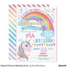 Magical Unicorn Birthday Invitation Rainbow Invite Zazzle Com