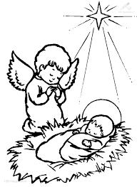 Kleurplaat Kerst Jezus Jezus En Een Engel