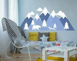 Woodlan Large Mountain Wall Decal For Nursery Forest Animal Kids Room Decor Fs19 Ebay
