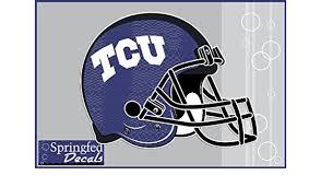 Amazon Com Tcu Horned Frogs Football Helmet 2 12 Vinyl Decals Texas Christian Car Truck Sticker Kitchen Dining
