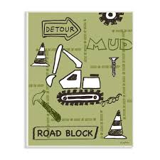 The Kids Room By Stupell 12 5 In X 18 5 In Detour Green Bulldozer Road Block Construction Zone By Denise Sullivan Wood Wall Art Brp 2355 Wd 13x19 The Home Depot
