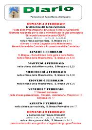 Diario 2-9 Febbraio 2020 – Parrocchia e Chiesa di Santa Maria a ...