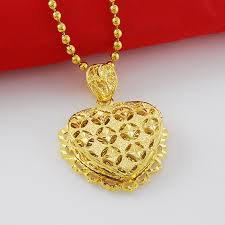 24k gold big heart pendant necklace