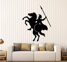Vinyl Wall Decal Spartan Warrior On Horse With Spear Helmet Stickers Wallstickers4you