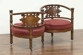 1895 oak s shape double chair sofa