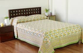 Buy Ivy Bell Yellow / Green Screen Printed Cotton Bed Cover Online