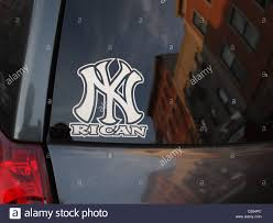 Decal On Automobile For Niyoricans New York Puerto Ricans Stock Photo Alamy