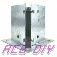 Bolt Down Fence Post Support Galvanised Square Wooden Posts Holder Grip Anchor Ebay