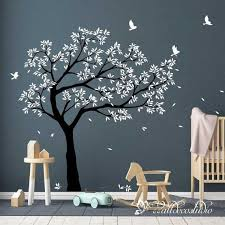 Tree Birds Wall Decal Nursery Large Tree Decal Wall Sticker Wall Mural Removable Vinyl Tree Wall Sti In 2020 Wall Stickers Bedroom Wall Murals Bird Wall Decals
