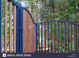 Wooden Fence In A Metal Frame The Fence Of The Park Area Stock Photo Alamy