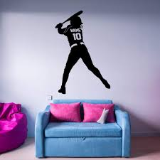 Vwaq Custom Softball Wall Decal With Name And Jersey Number Personal