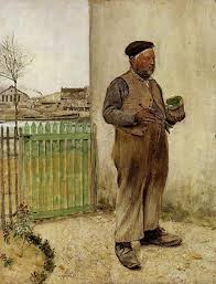 Raffaelli Jean Francois Man Having Just Painted His Fence Artist Painting Canvas 48x36inch High Quality Amazon Co Uk Kitchen Home