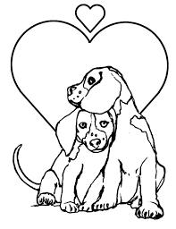 Tranh tô màu hai chú chó và hình trái tim « in hình này