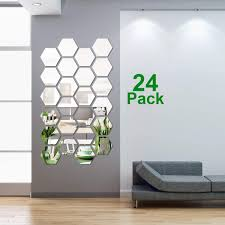 Shappy 24 Pieces Removable Acrylic Mirror Setting Wall Sticker Decal For Home Living Room Bedroom Decor Middle Hexagon 5 X 4 3 X 2 5 Inches Amazon Com