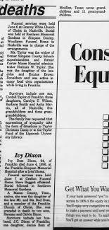 Ivy Doss Dixon Died Jun 4 1996 - Newspapers.com