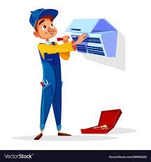 air conditioner repair man cartoon