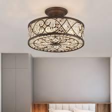 bulbs metal semi flush mount lighting