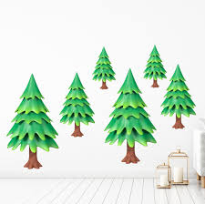 Zoomie Kids Cartoon Pine Trees Wall Decal Wayfair