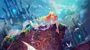 anime s blue eyes sky castle