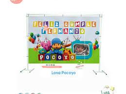 Lona Pocoyo Personalizada Fiesta Pocoyo Backdrop Luna Festiva