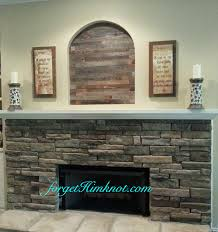 barn wood fireplace niche makeover