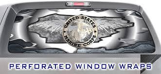 Amazon Com Iti Global Designs Marine Corp 003 Window Wrap Usa Metal Truck Car Rear Decal Sticker Automotive