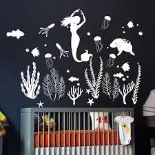 Large Cartoon Mermaid Fish Wall Decal Sofa Bedroom Mermaid Sea Wave Wall Sticker Vinyl Mural Children Room Nursery Ocean Seaweed Wall Stickers Aliexpress