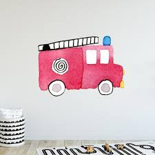 Large Fire Truck Wall Decal Labeldaddy