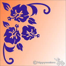 Corner Hibiscus Decal For Vehicles Made From High Grade External Vinyl
