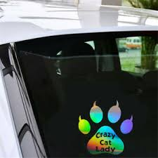 Funny Paw Crazy Cat Lady Sticker Car Window Door Bumper Motorbike Vinyl Decal Ebay