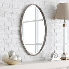 chrome metal frame oval bathroom mirror