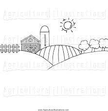 Agriculture Clipart Of Black And White Rolling Hills A Farm And Silo On Farm Land By Hit Toon 54