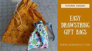 easy diy fabric drawstring gift bag