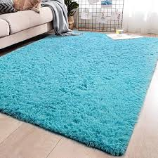 Amazon Com Yj Gwl Soft Shaggy Area Rugs For Bedroom Fluffy Living Room Rugs Anti Skid Nursery Girls Carpets Kids Home Decor Rugs 4 X 5 3 Feet Turquoise Blue Home Kitchen