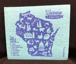 wisconsin badger state dishcloth