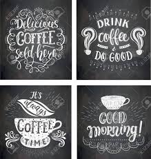 set of coffee quotes on the chalkboard vector hand drawn