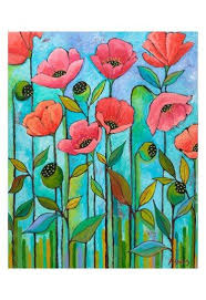 Coral Poppies by Peggy Davis | Poppy art, Poppies, Mural art