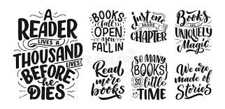 set abstract lettering about books and reading for poster