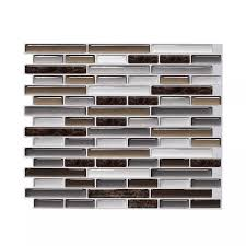 Self Adhesive Mosaic Tile 3d Wall Decal Sticker Diy Kitchen Bathroom Home Decor Vinyl Peel And Stick Mixed Brown Marble 1 Sheet Wall Stickers Aliexpress