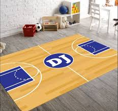 Basketball Court Area Rug Perfect For A Sports Themed Room For Kids In 2020 Sports Themed Room Sports Nursery Theme Basketball Room Decor