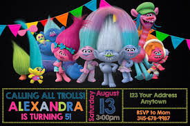 Trolls Birthday Party Invitations Personalized You Print Con