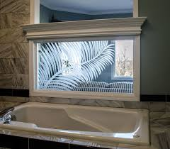 custom etched palm frond glass modern