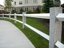 Nh Gray Granite Fence Posts With White Rails Farmhouse Landscaping Fence Design Privacy Fence Designs