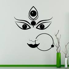 Durga Hindu God Vinyl Decal Hinduism Wall Sticker Interior Bedroom Decor Asia India Wall Murals Decoration Wallpaper Mt33 Sale Up To 70 Stickersmegastore Com
